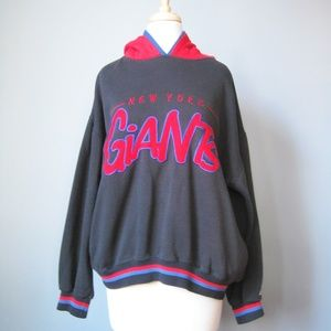 NY Giants Hoodie / Vtg 80s / Black and Red vintage
